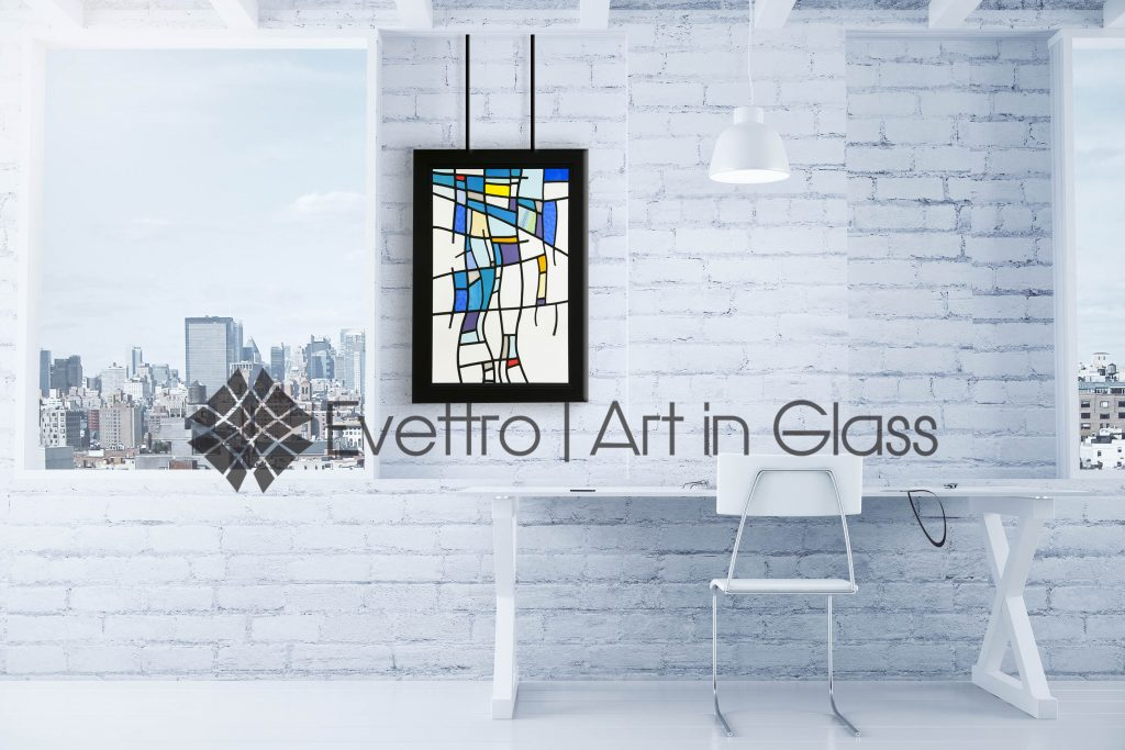 Abstract Stained Glass Hanging Panel