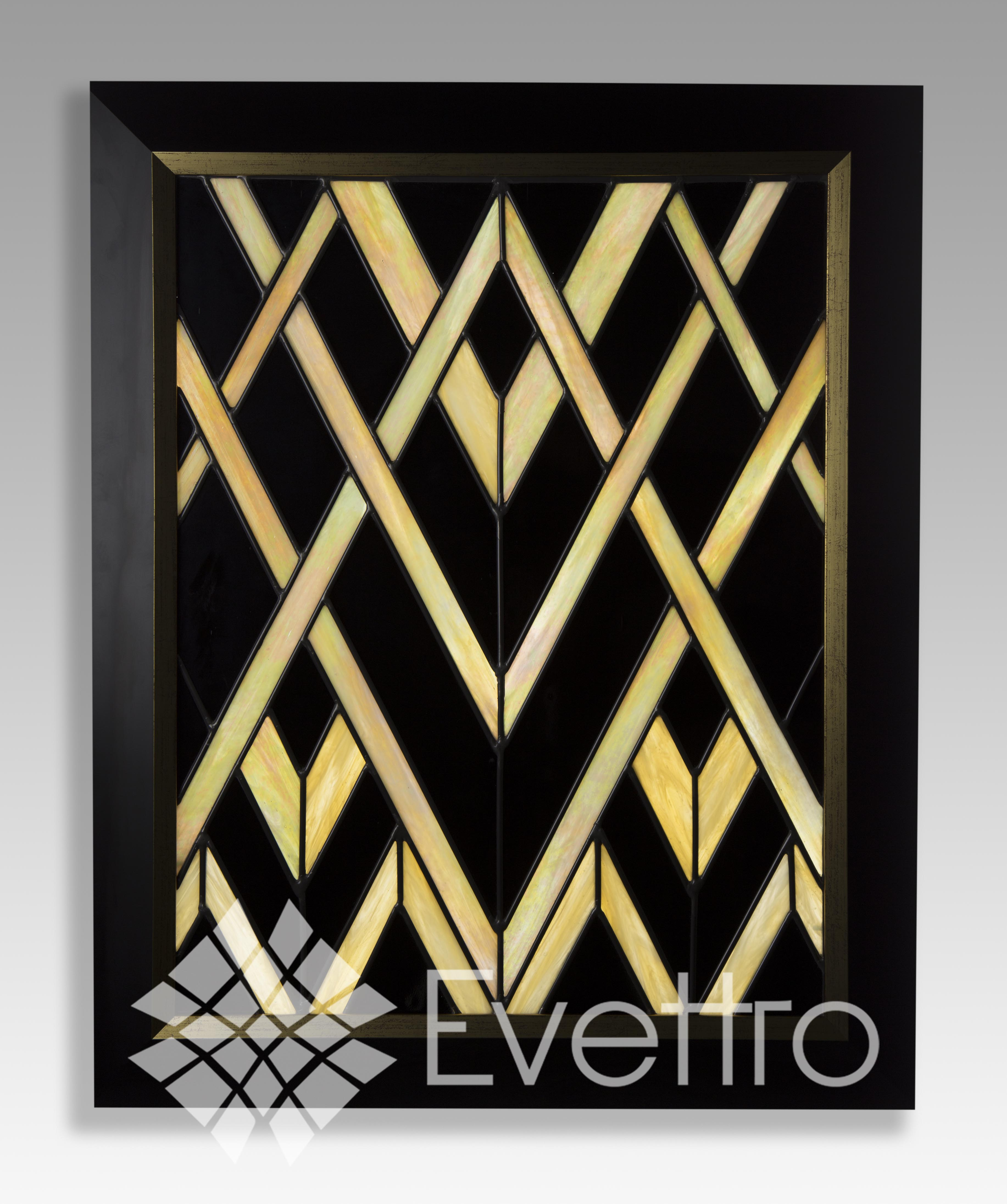 Art Deco Stained Glass Panel Window