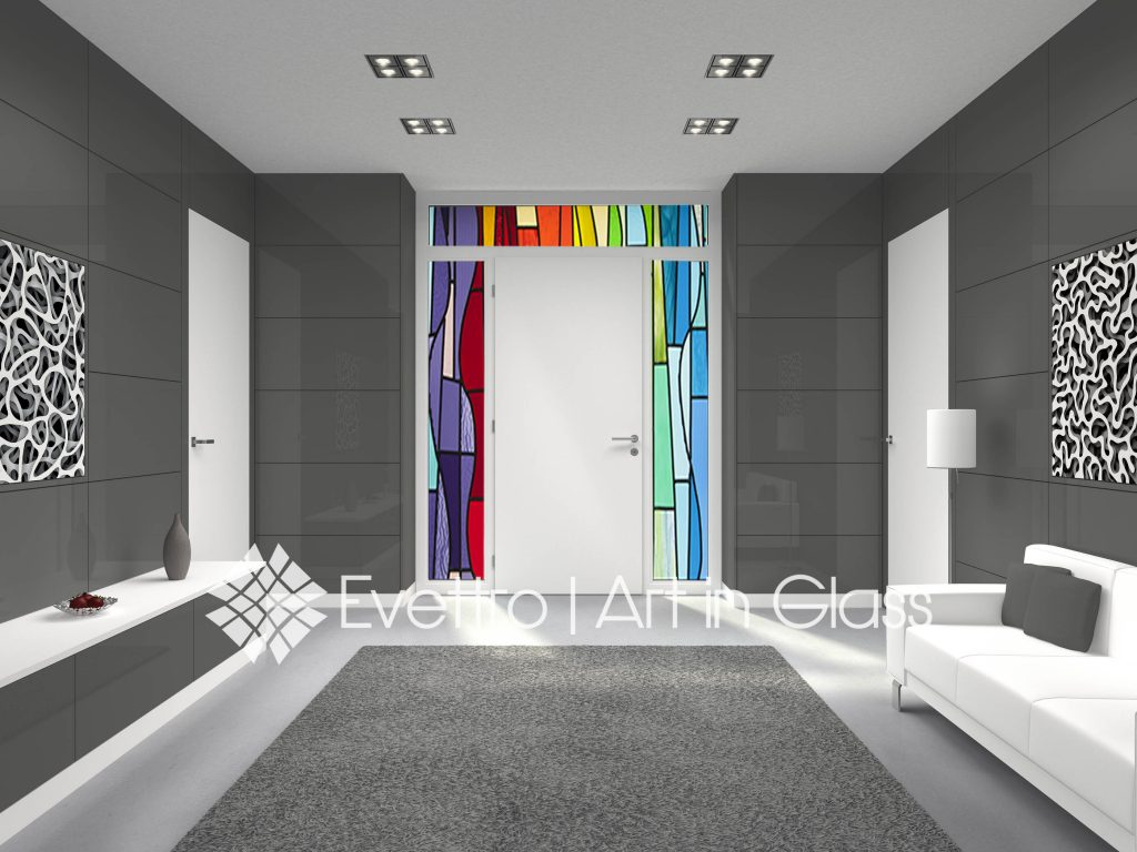 Abstract Stained Glass Transom and Sigelights