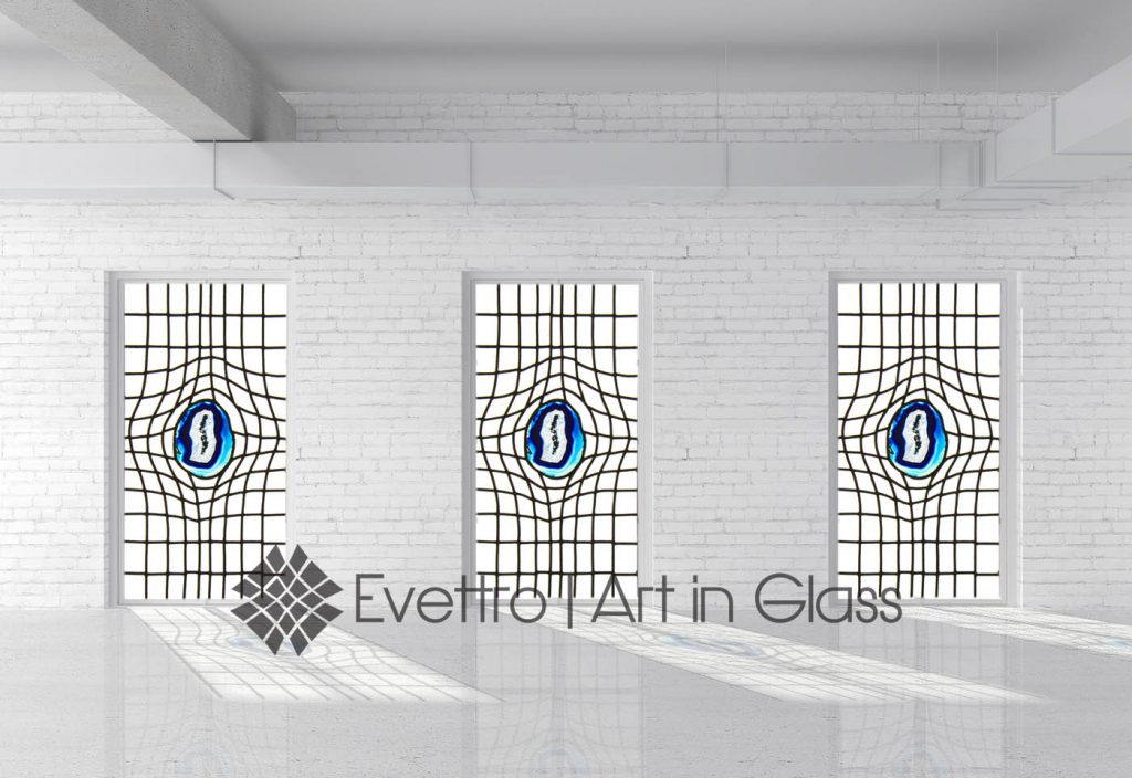 Contemporary Stained Glass Windows with Geodes